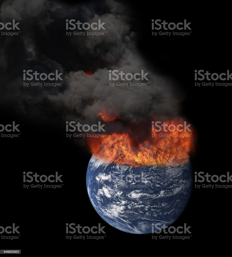 Earth in space engulfed in flames stock photo