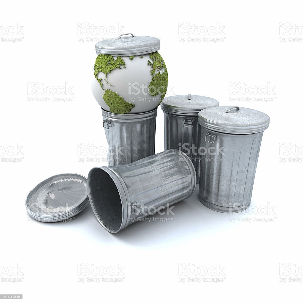 Earth in the garbage can royalty-free stock photo