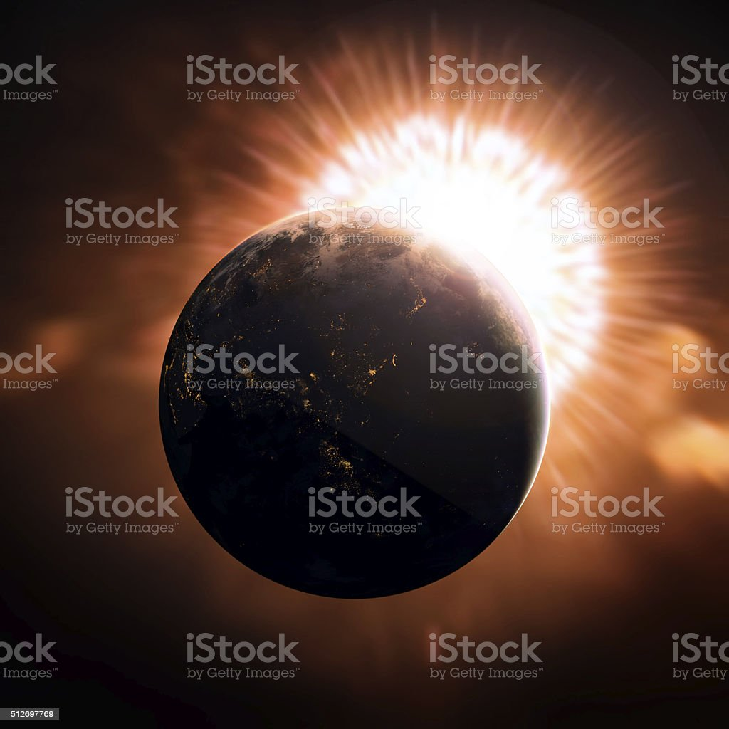 earth in the space stock photo