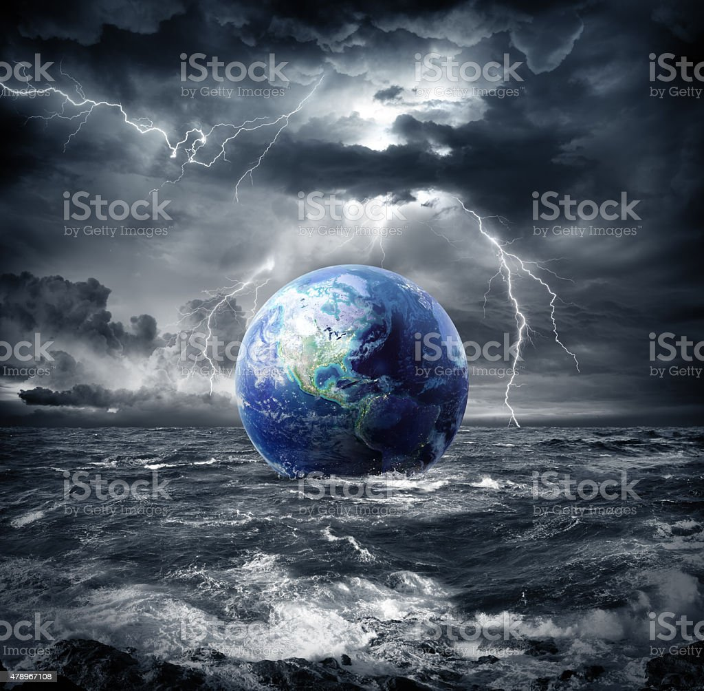 earth in the storm - apocalypse in Usa stock photo