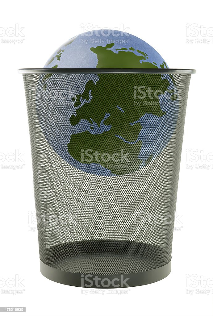 earth in trash royalty-free stock photo