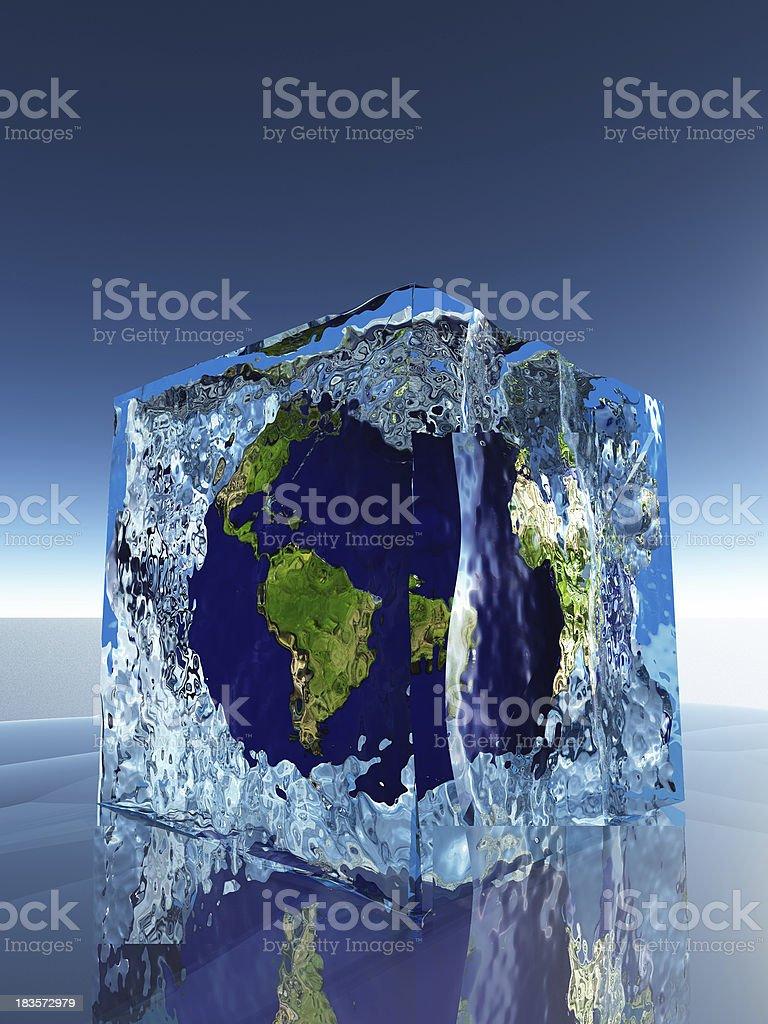 Earth inside ice cube royalty-free stock photo