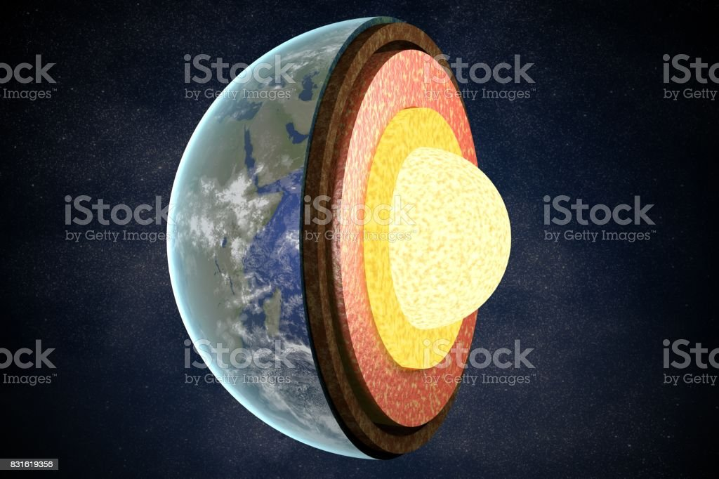 Earth layers and structure. 3D rendered illustration. stock photo
