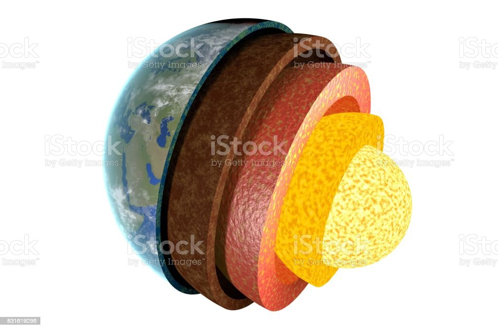 Earth layers and structure. Isolated on white background. 3D rendered illustration. stock photo