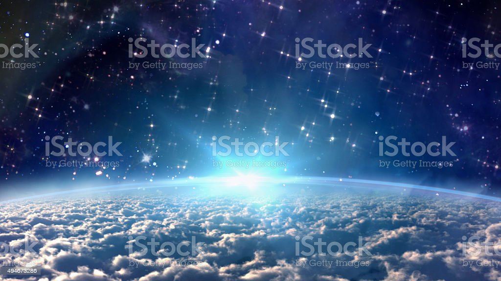 earth lens flare light stock photo