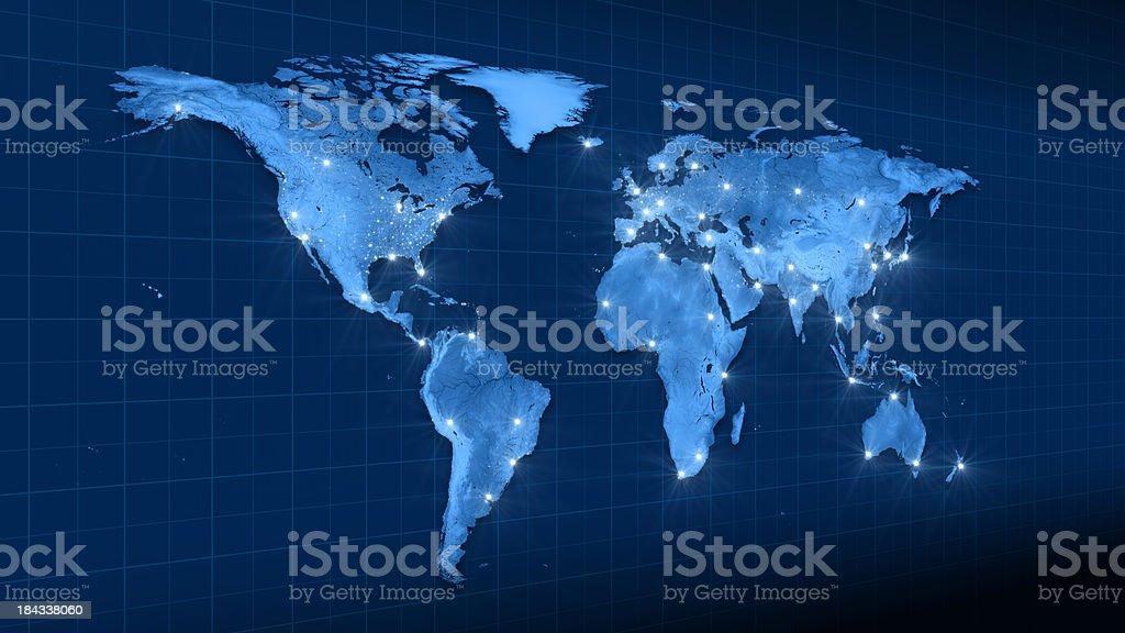 Mapa de terra de luzes da cidade de Vista Lateral esquerdo foto royalty-free