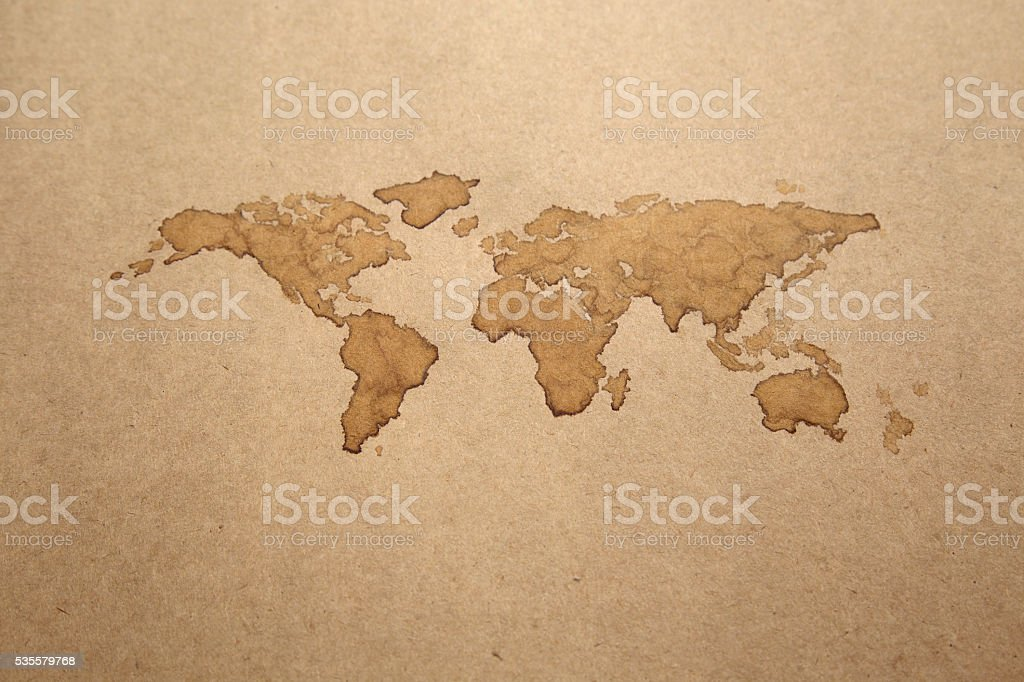 Earth Map, Coffee Painting on paper royalty-free stock photo