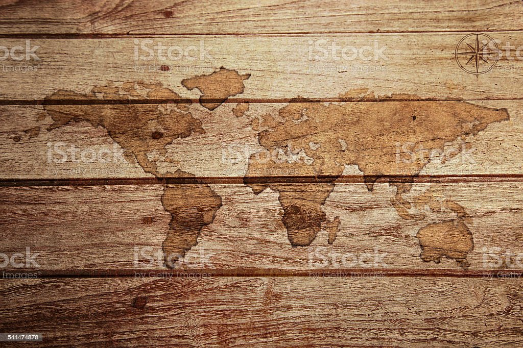 Earth Map, Coffee painting on wooden royalty-free stock photo