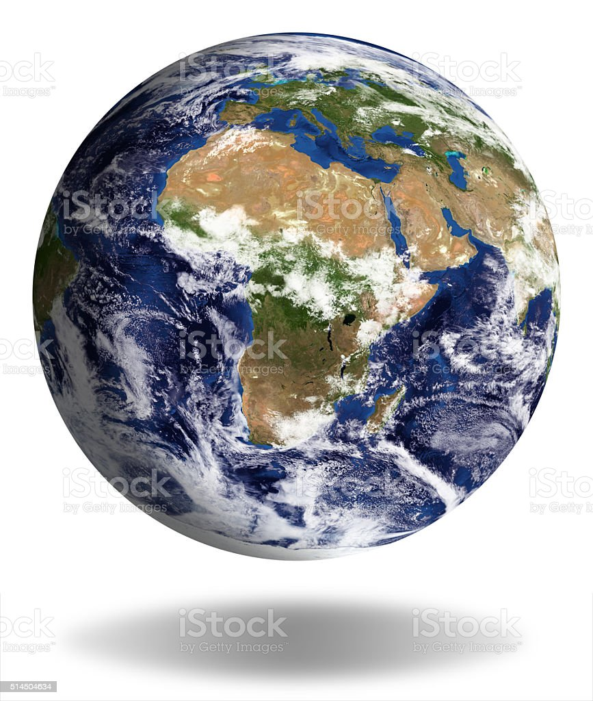 Earth Model: Europa and Africa View isolated on white stock photo