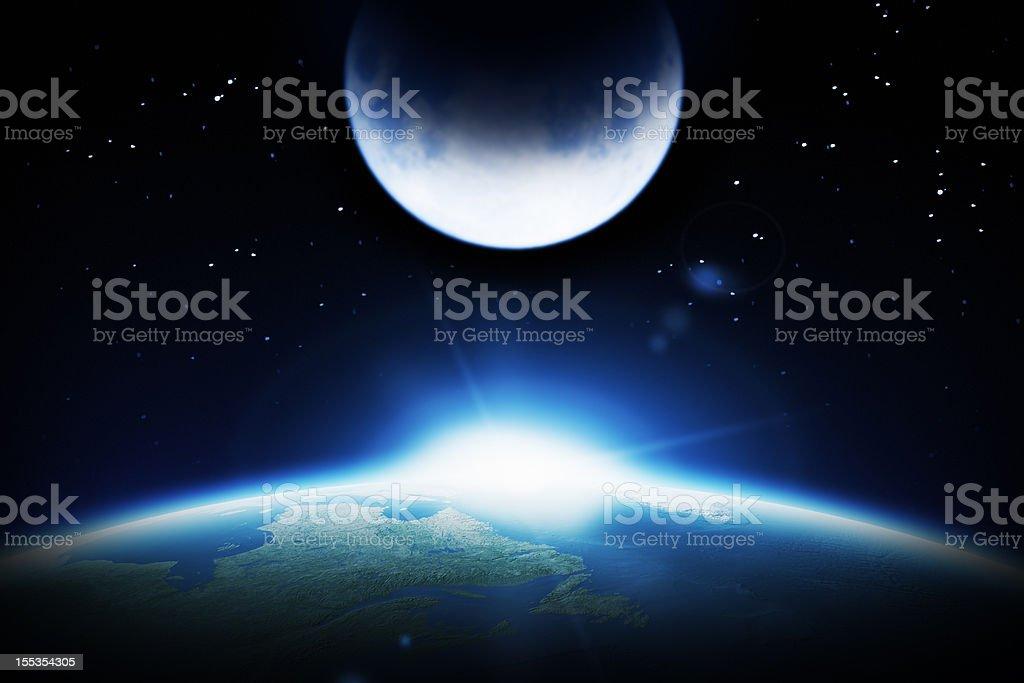 Earth, Moon and rising Sun royalty-free stock photo