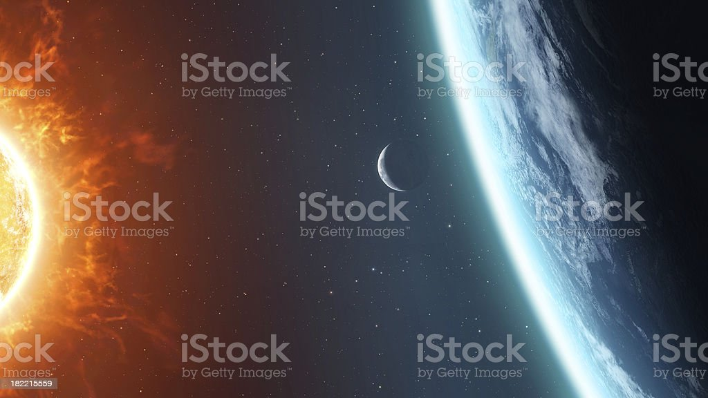 Earth Moon and Sun stock photo