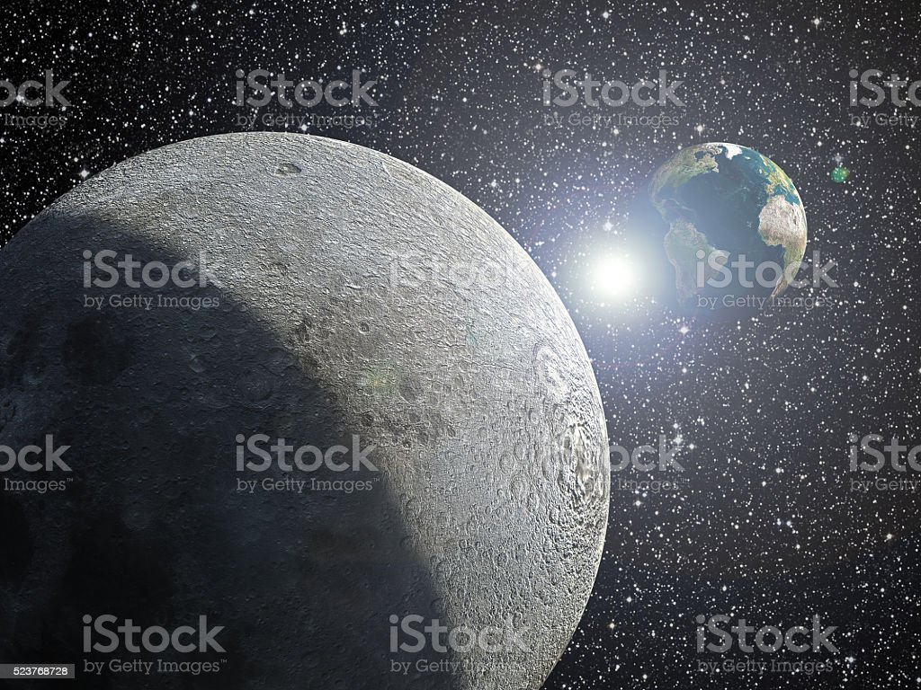 Earth, moon and sun stock photo