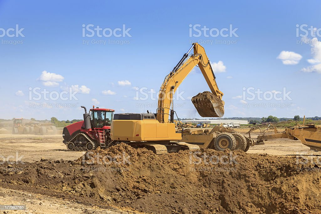 Earth Mover Excavating Dirt royalty-free stock photo