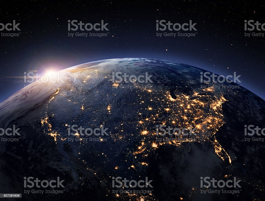 Earth night space stock photo