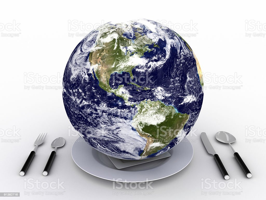 Earth on plate stock photo