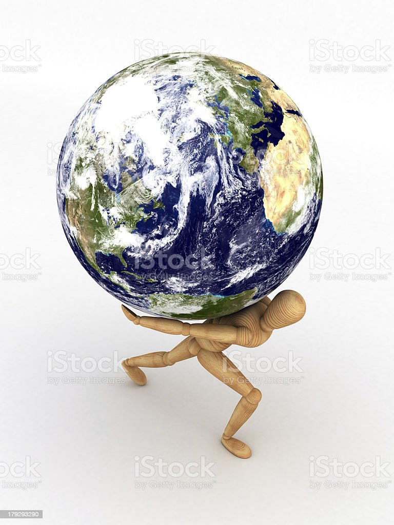 Earth over shoulder royalty-free stock photo