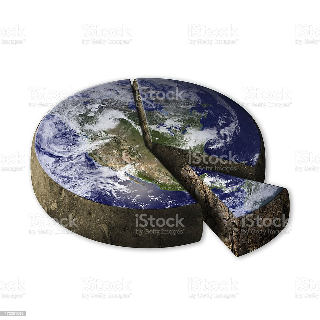 Earth pie chart graphic stock photo