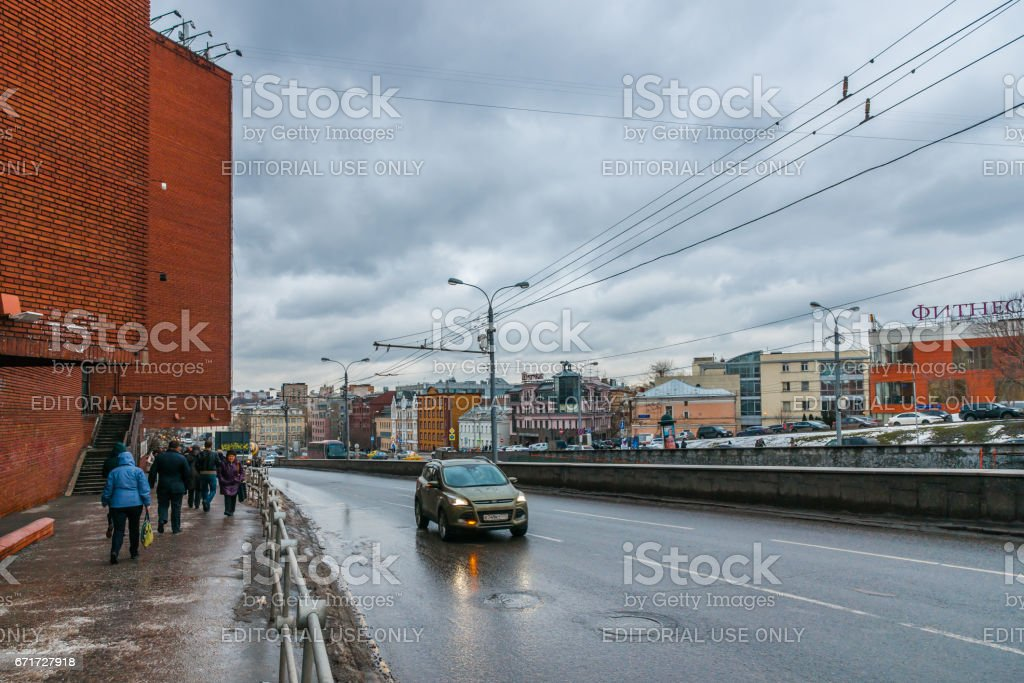 Earth Rampart street in winter stock photo