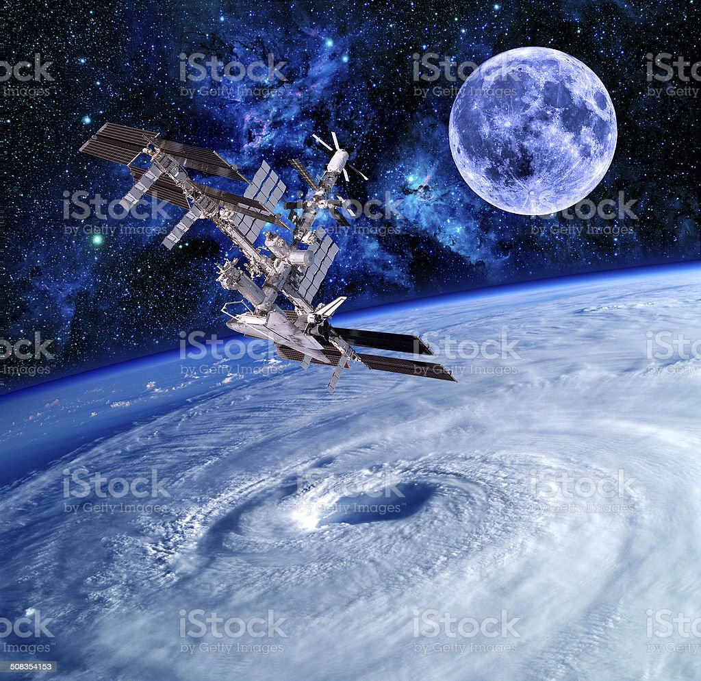 Earth Satellite Space Stars stock photo