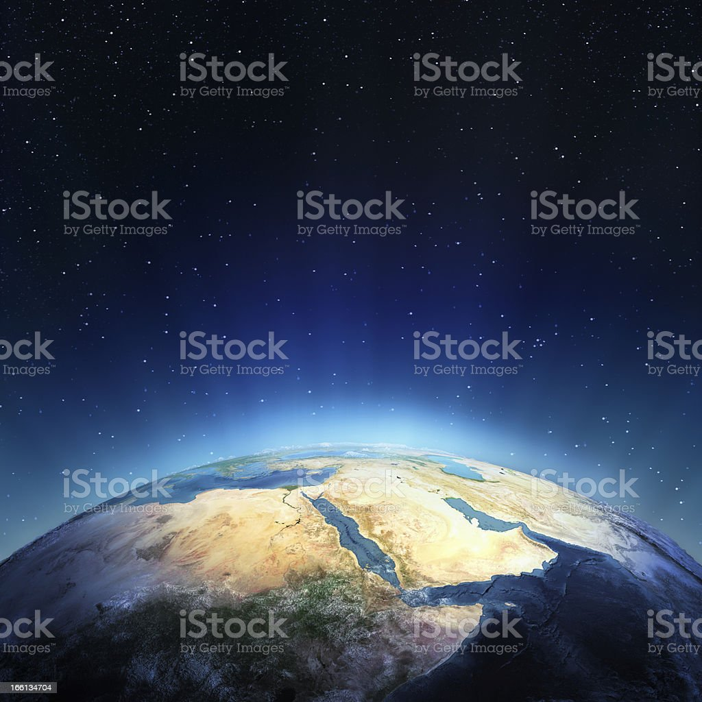 Earth seen from space featuring the Middle East royalty-free stock photo