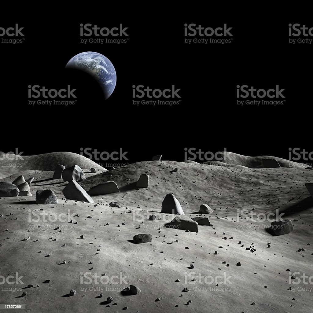 Earth seen from the moon? stock photo