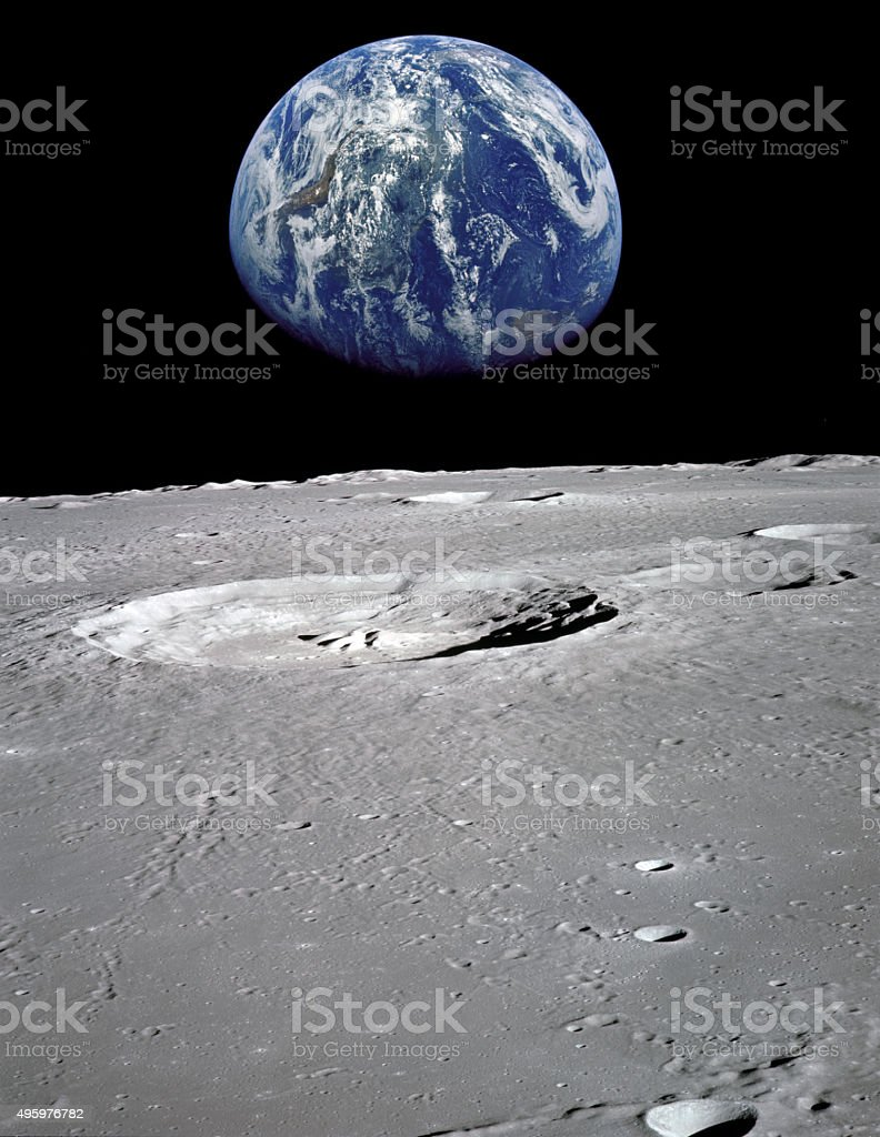 Earth seen from the moon stock photo