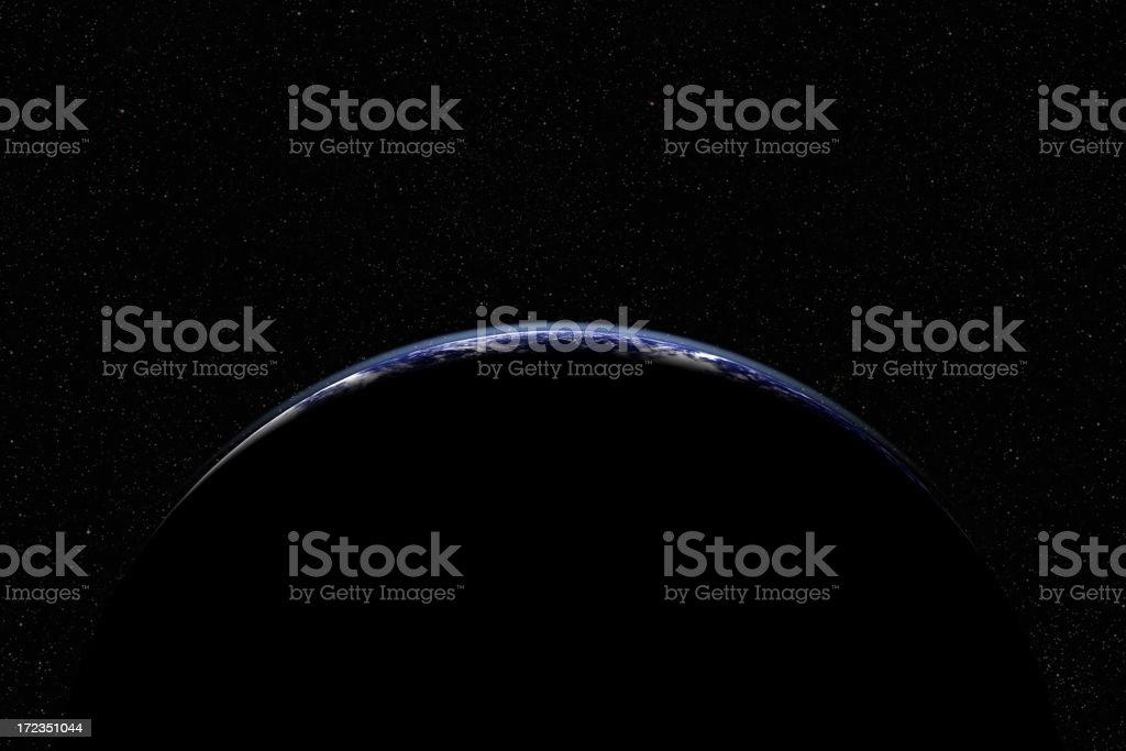 Earth slice over deep starfield stock photo
