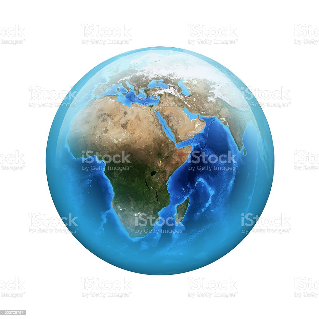 Earth. Spherical glossy button. Web element stock photo