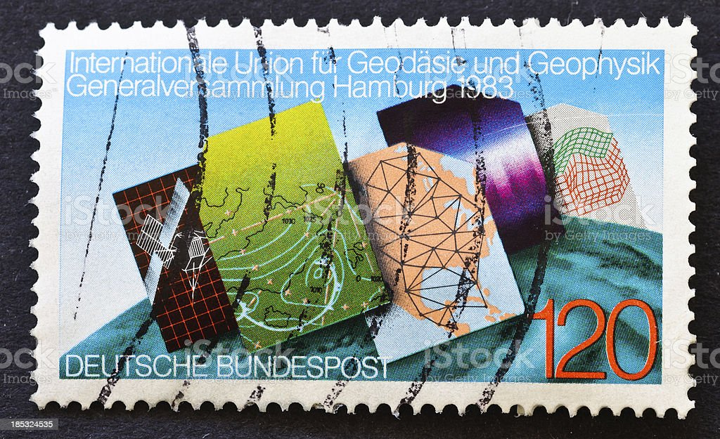 Earth Study Stamp stock photo