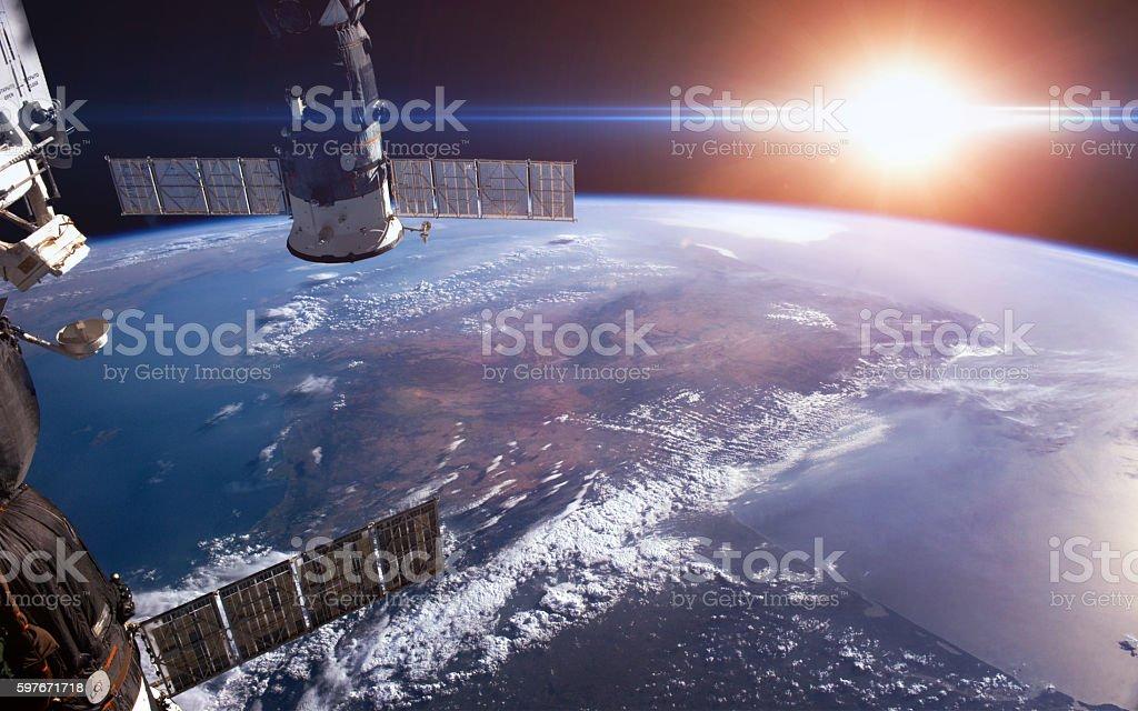 Earth sunrise. Elements furnished by NASA stock photo
