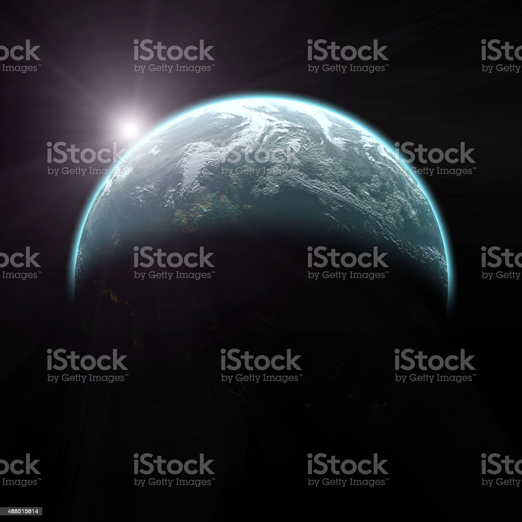 Earth sunrise from space stock photo