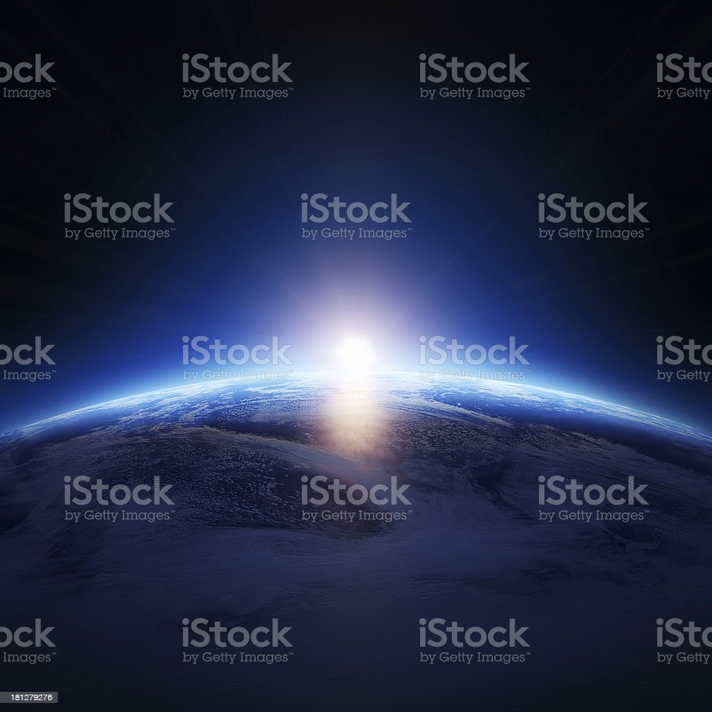 Earth sunrise over cloudy ocean with no stars stock photo