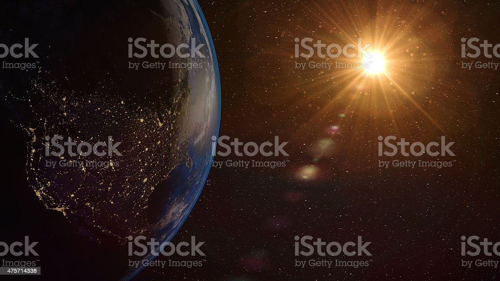 Earth sunrise stock photo