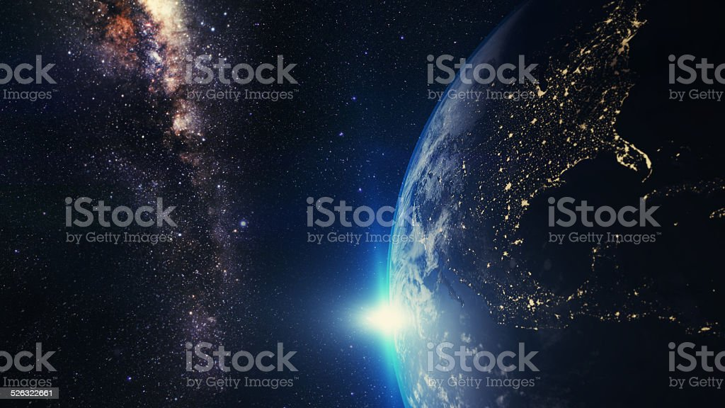 Earth sunset stock photo