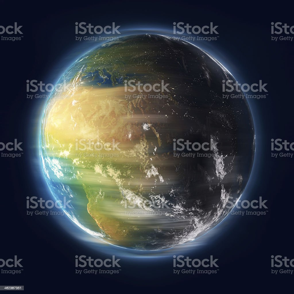 Earth Turning stock photo