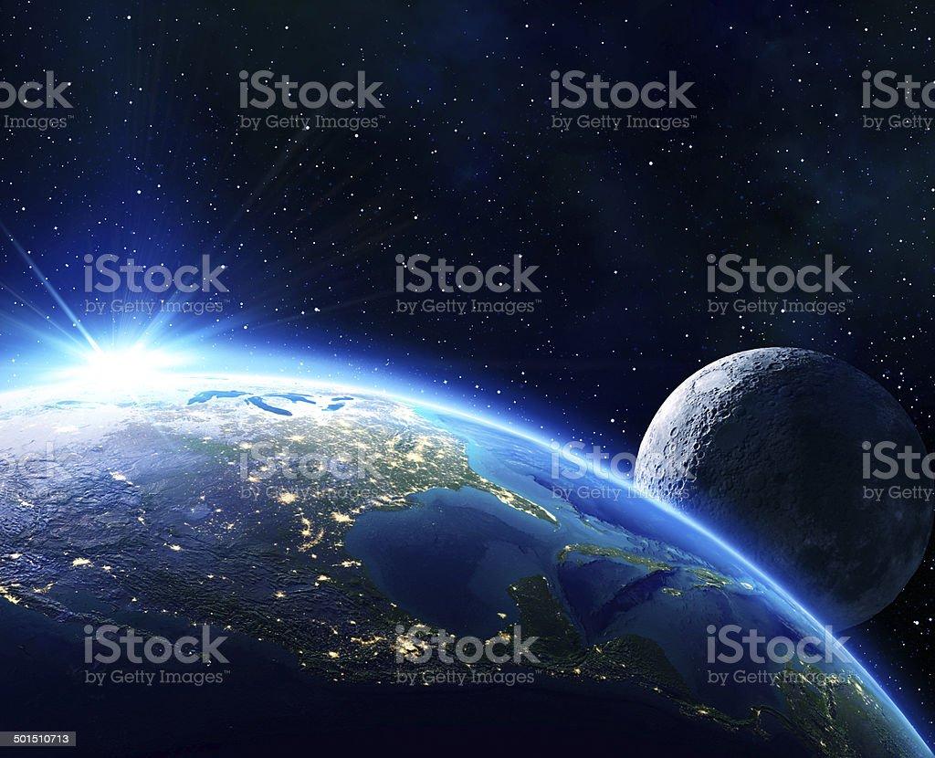 earth Usa, horizon and moon stock photo