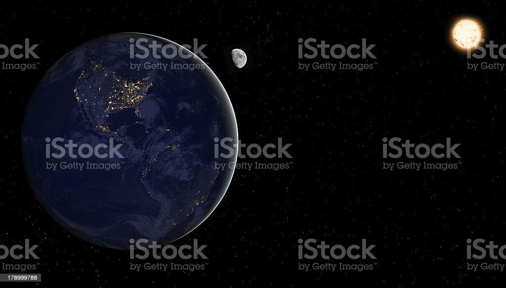 Earth USA night lights with moon, sun and stars royalty-free stock photo