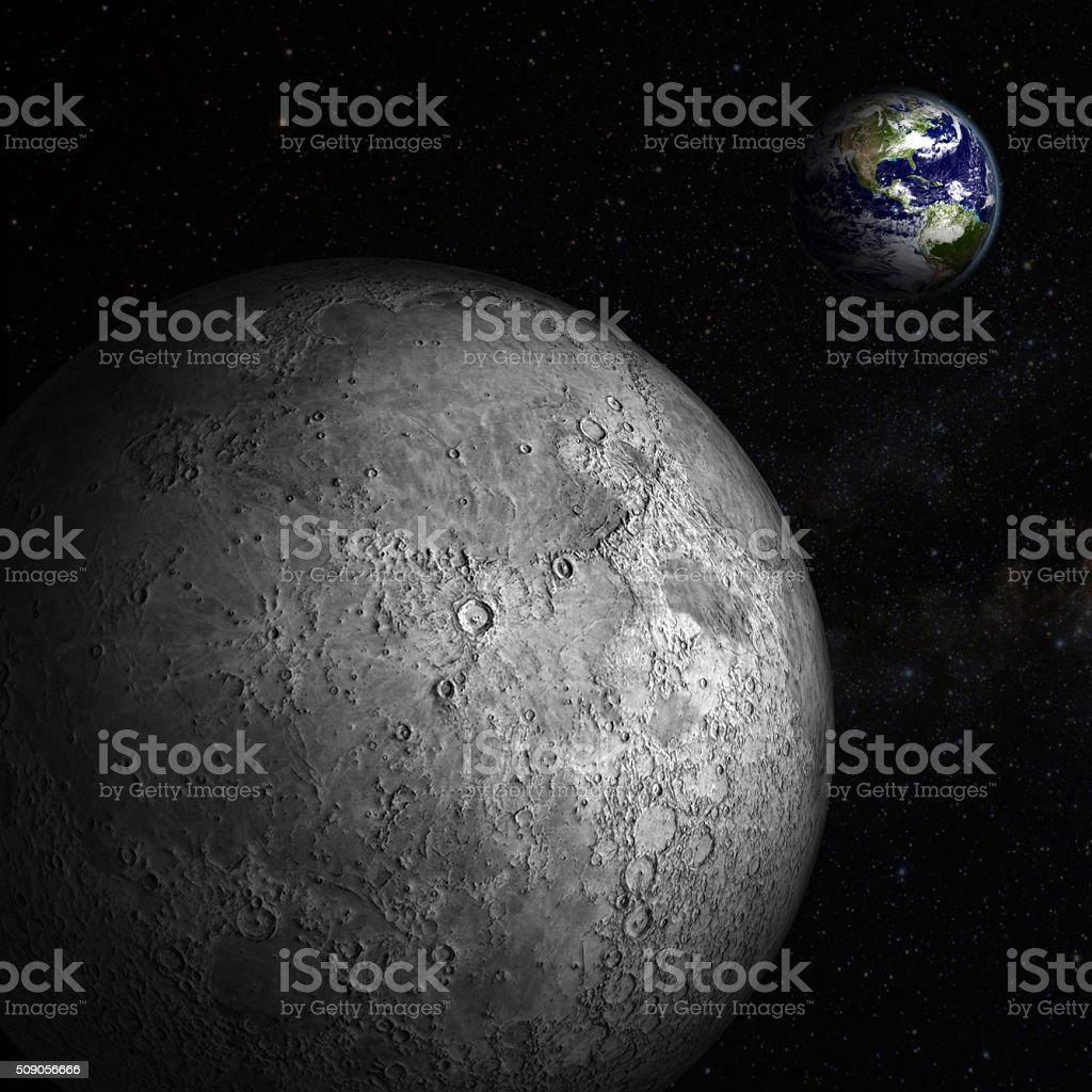 Earth view from Moon stock photo