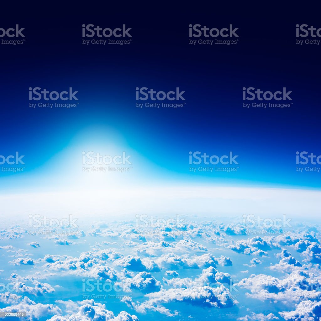 Earth View from Space. Dark Blue Sky and Clouds. stock photo