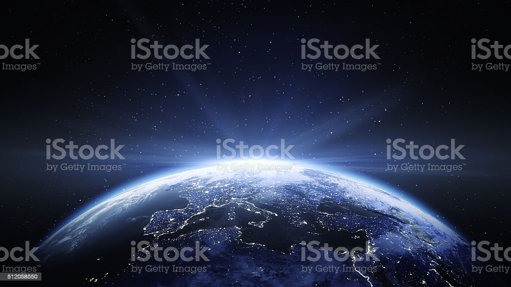 Earth View From Space To Europe stock photo