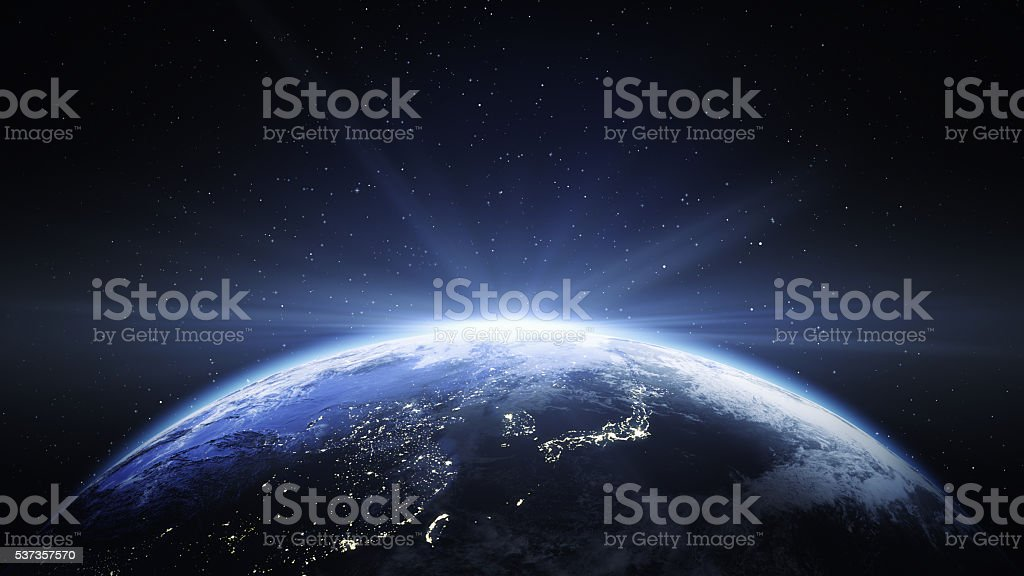 Earth View From Space to Japan And China stock photo