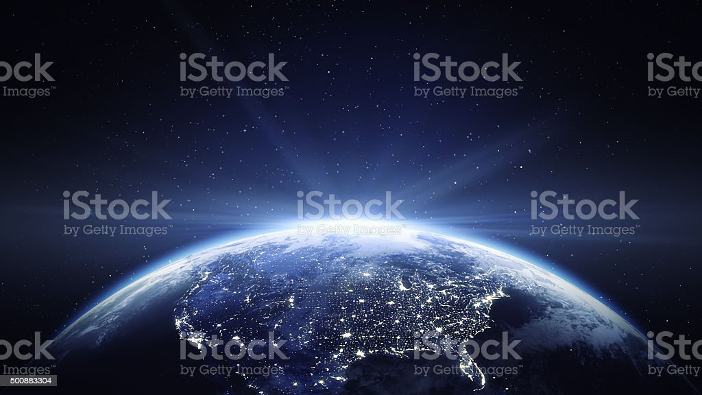 Earth View From Space With Sun Flare - North America stock photo
