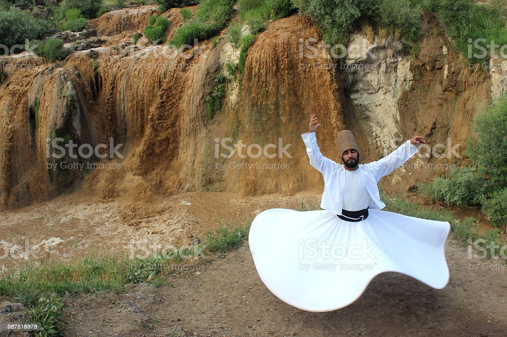 Earth, water and the whirling dervish...Muradiye Falls stock photo