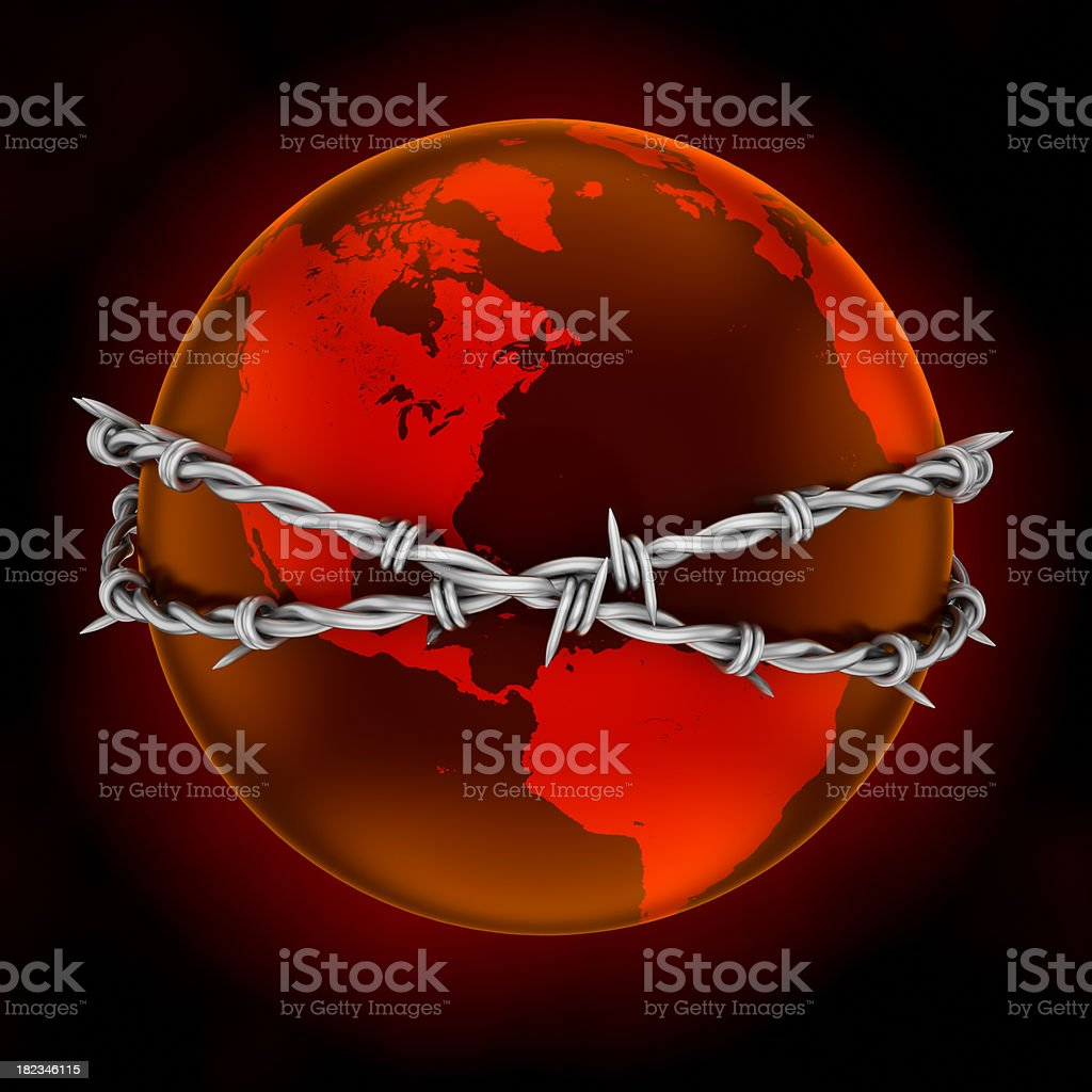 Earth with barbed wire, clipping path stock photo