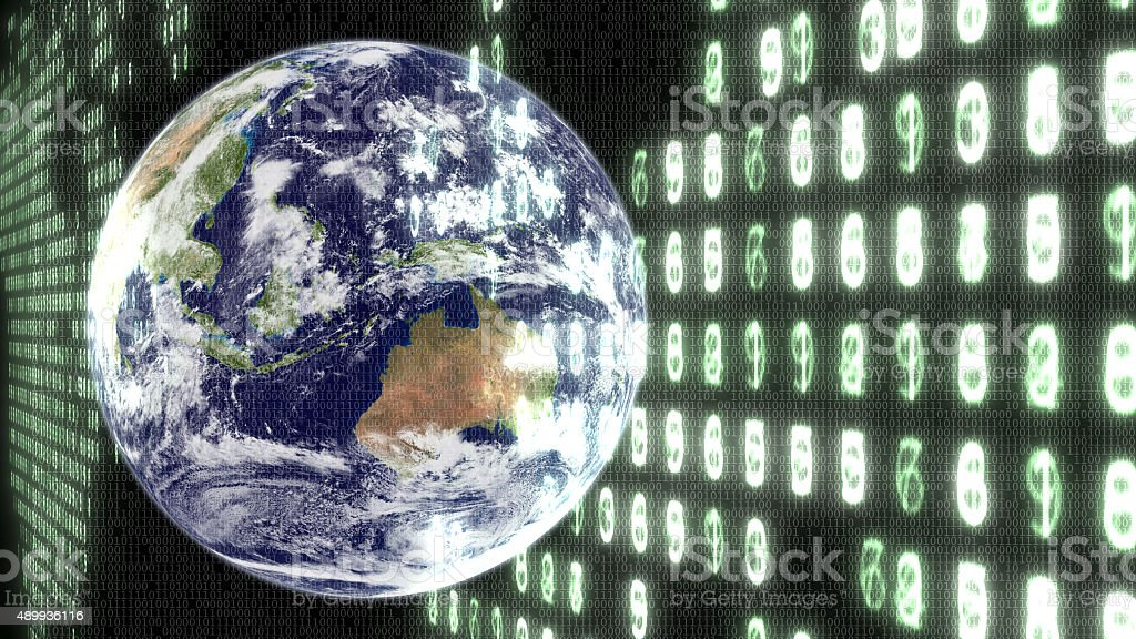 Earth with binary code and electronic numbers. stock photo