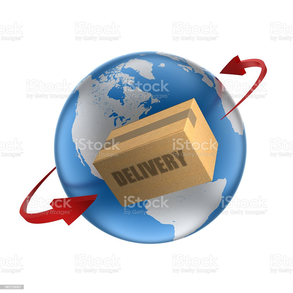 Earth with cardboard box and orbiting arrows, isolated/clipping path royalty-free stock photo
