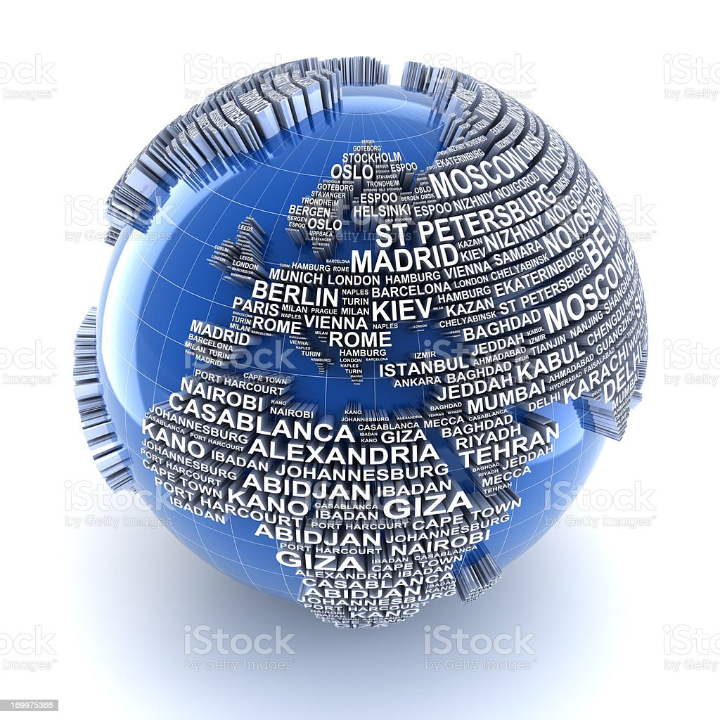 Earth with names of major cities in the world royalty-free stock photo