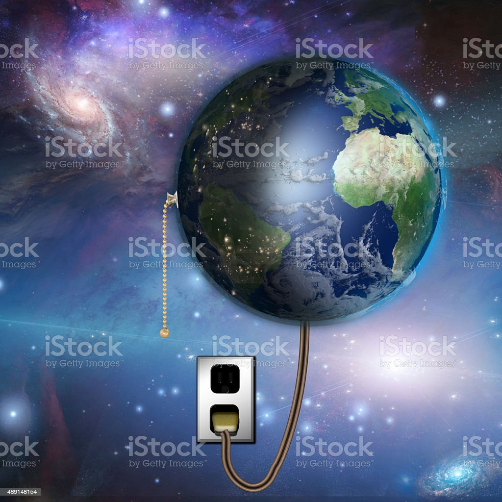 Earth with night and day with pull switch stock photo