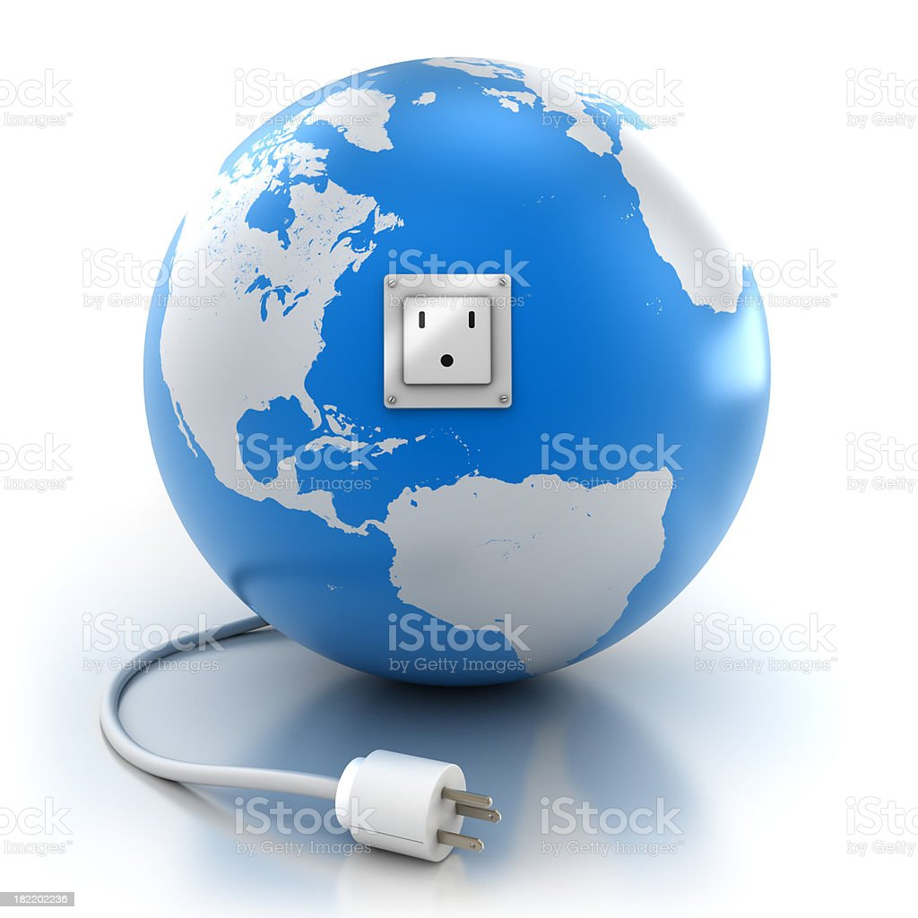Earth with power socket and plug, isolated / clipping path stock photo