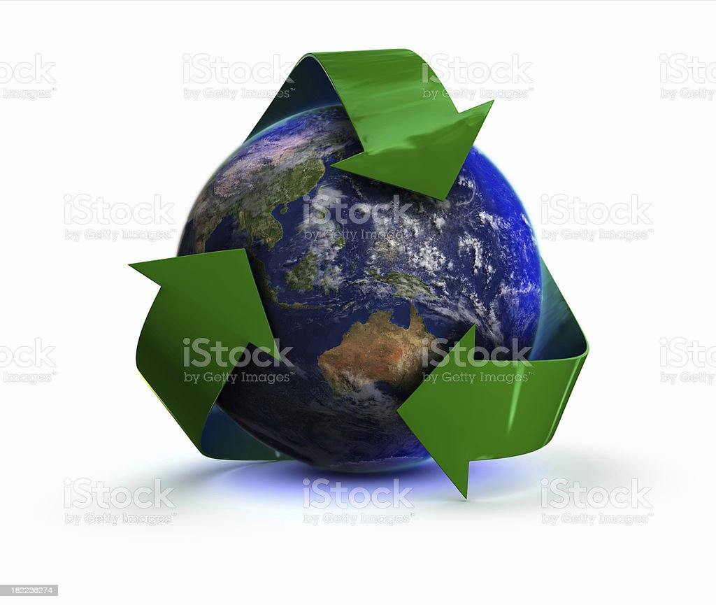 Earth with recycling symbol - Austrailia royalty-free stock photo